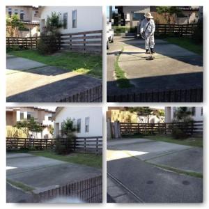 駐車場スペース芝刈り