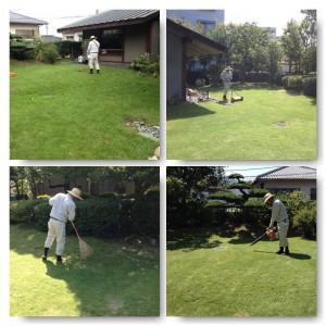 芝刈り作業中